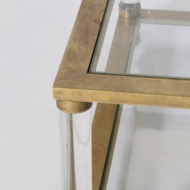 Late 20th Century French Brass and Lucite Coffee Table, circa 1970 For Sale