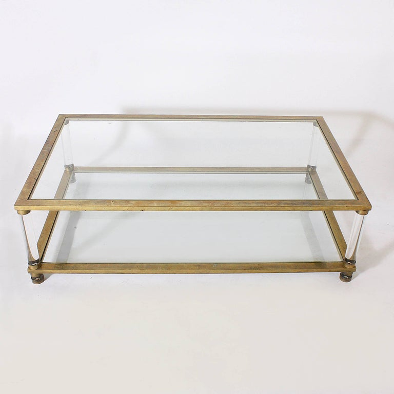 French Brass and Lucite Coffee Table, circa 1970 For Sale 1