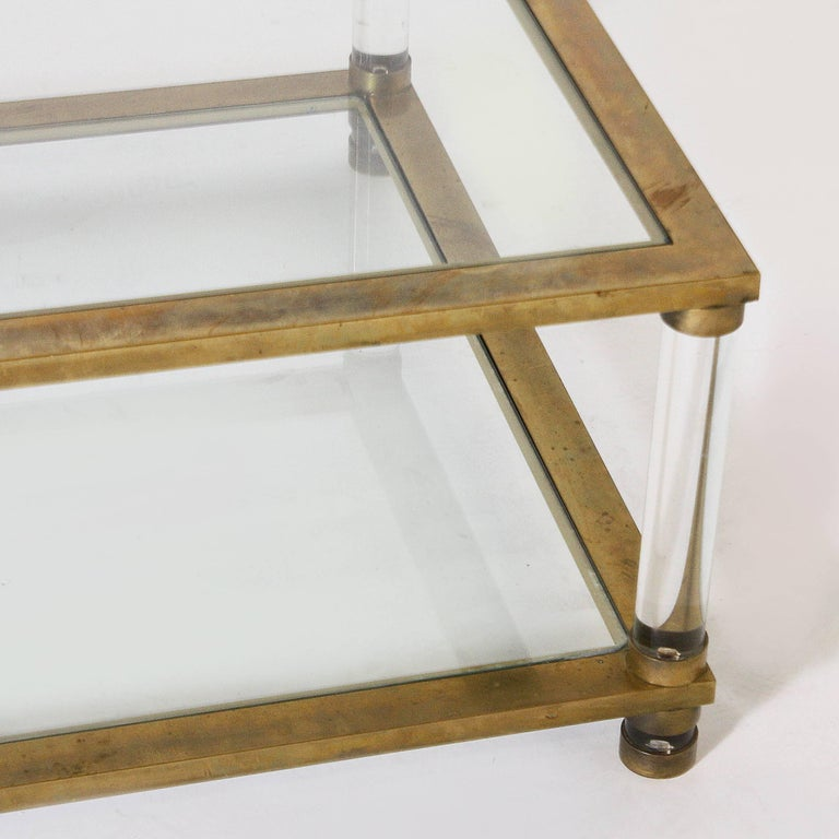 French Brass and Lucite Coffee Table, circa 1970 For Sale 2