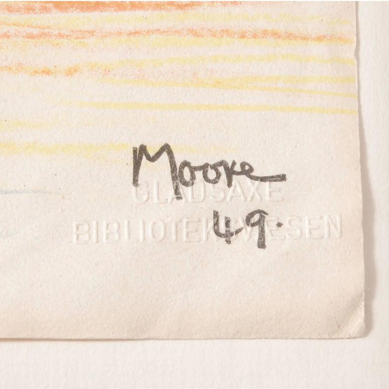 "Limited edition of 24/450, numbered in pencil, plate signed ""Moore 49"". Lithograph in colors, published by School Prints, Ltd and printed in Great Britain by W.S. Cowell, Ltd."