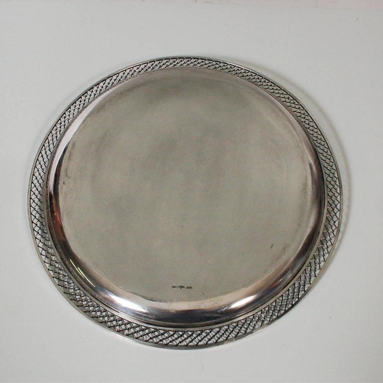 Scandinavian Modern Sterling Silver Platter by Frantz Hingelberg For Sale