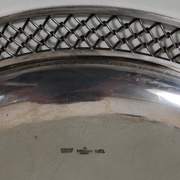 Danish Sterling Silver Platter by Frantz Hingelberg For Sale