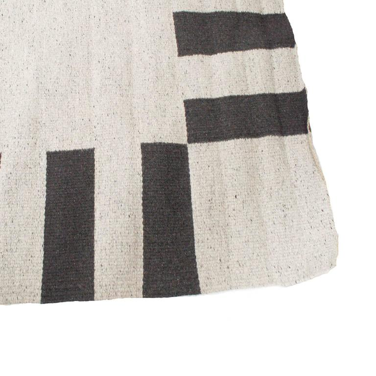 Clarity of black and white wool and linen carpet by for Black and white wool rug