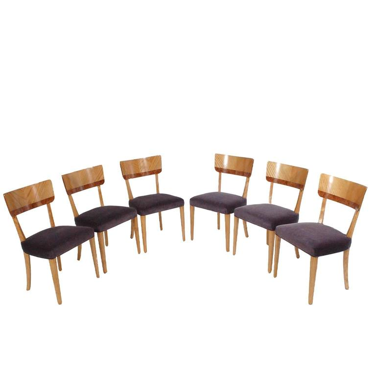 Set of Six Swedish Dining Chairs by Mjolby Intarsia, 1940s