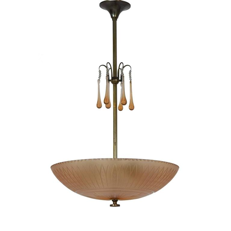 Orrefors Ceiling Lamp by Simon Gate, 1930s