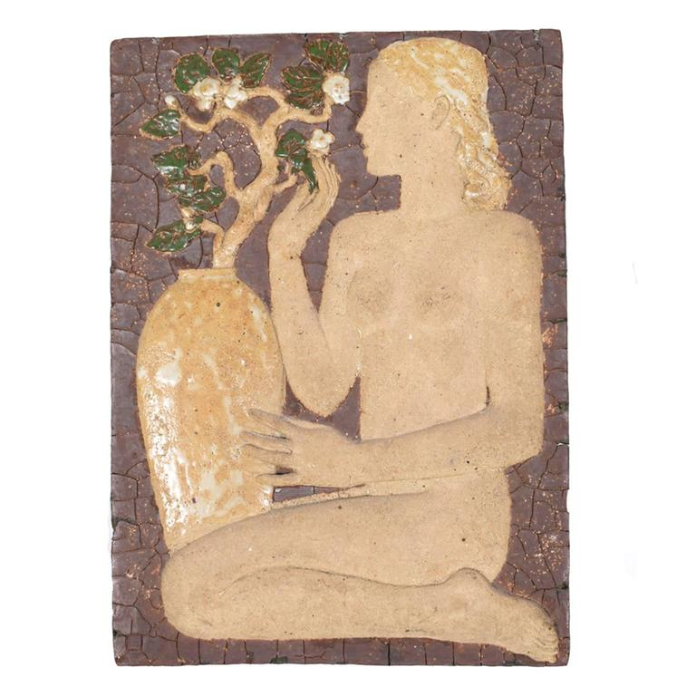 Glazed stoneware and chamotte wall relief