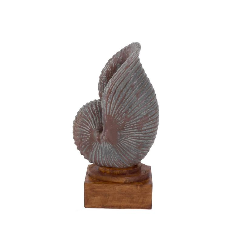 Large seashell sculpture design by Gunnar Nylund made by Rörstrand in Sweden, circa 1960 signed on the bottom size with the pedestal.