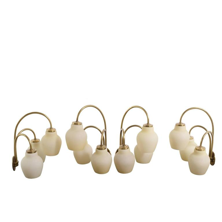 Danish Four Wall Sconces Attributed to Vilhelm Lauritzen For Sale