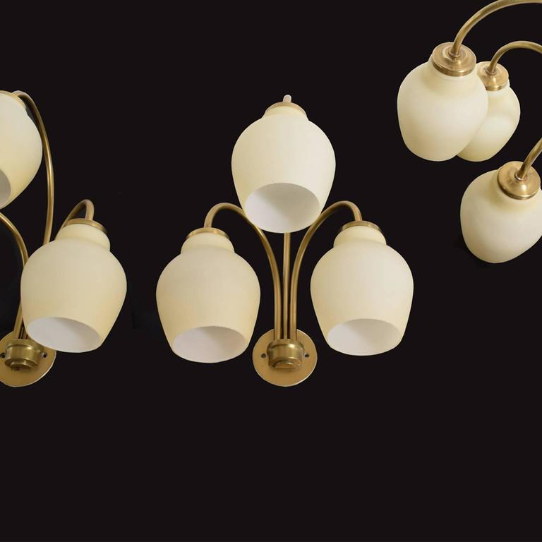 Mid-20th Century Four Wall Sconces Attributed to Vilhelm Lauritzen For Sale