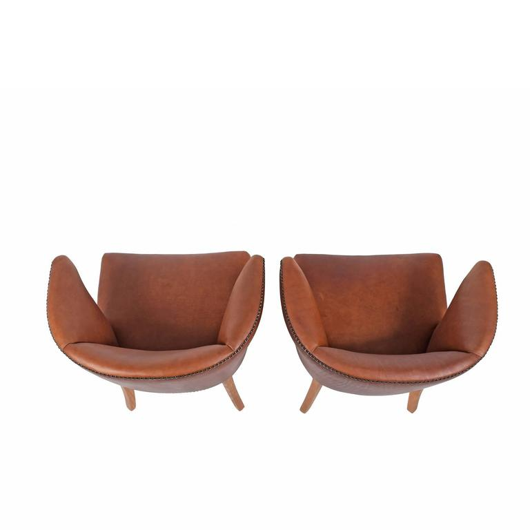 1940s Pair of Armchairs Attributed Frits Henningsen For Sale 1