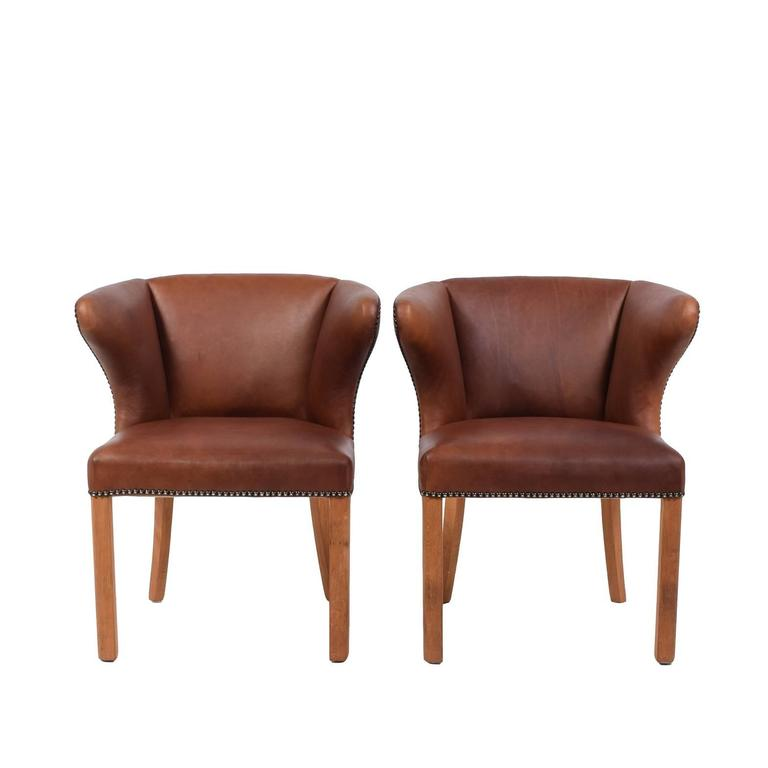 Scandinavian Modern 1940s Pair of Armchairs Attributed Frits Henningsen For Sale