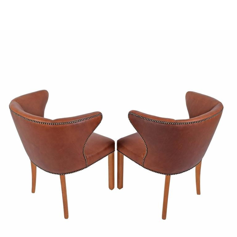 Mid-20th Century 1940s Pair of Armchairs Attributed Frits Henningsen For Sale