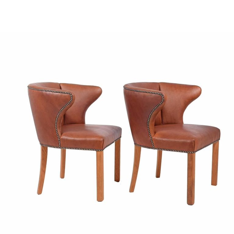 1940s Pair of Armchairs Attributed Frits Henningsen In Good Condition For Sale In Dallas, TX