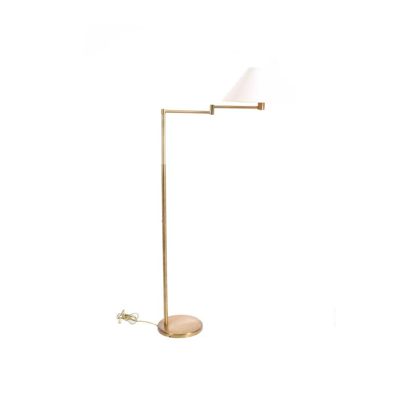 Original floor lamp adjustable height with original shade and glass defuser mark on the arm and bottom. Measures: Height 49