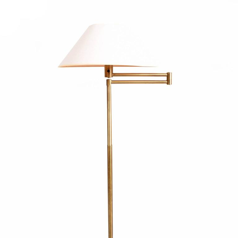 American Modern Walter Von Nessen Early Brass Floor Lamp For Sale