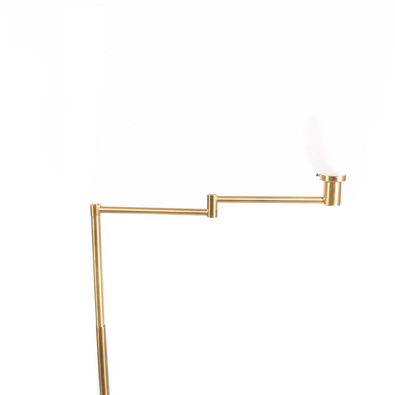 American Walter Von Nessen Early Brass Floor Lamp For Sale