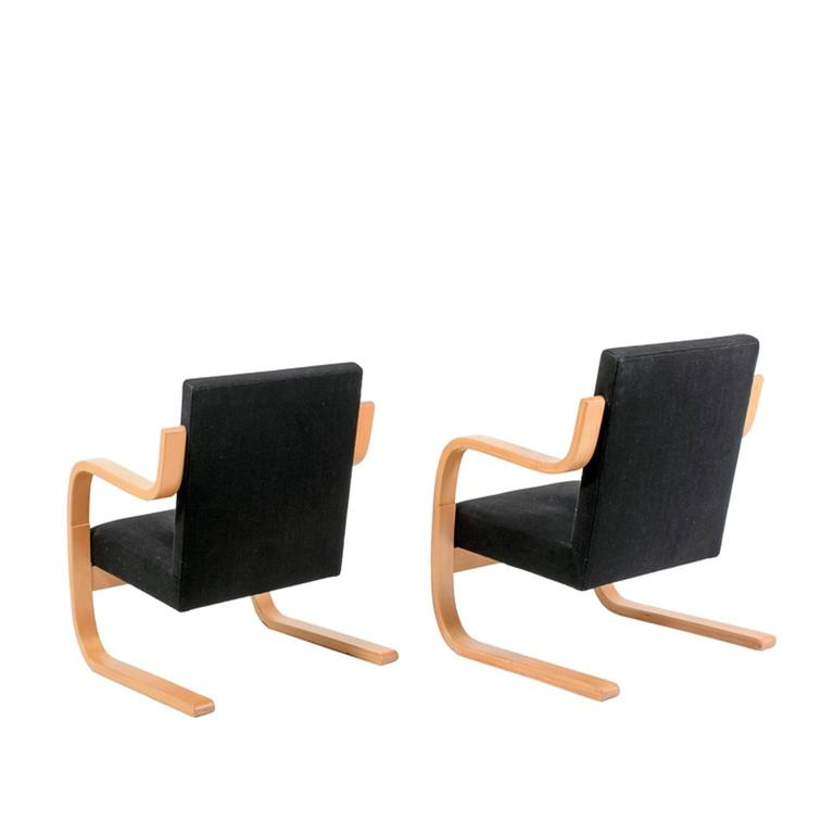 Pair Of Alvar Aalto Cantilevered Armchairs For Artek At