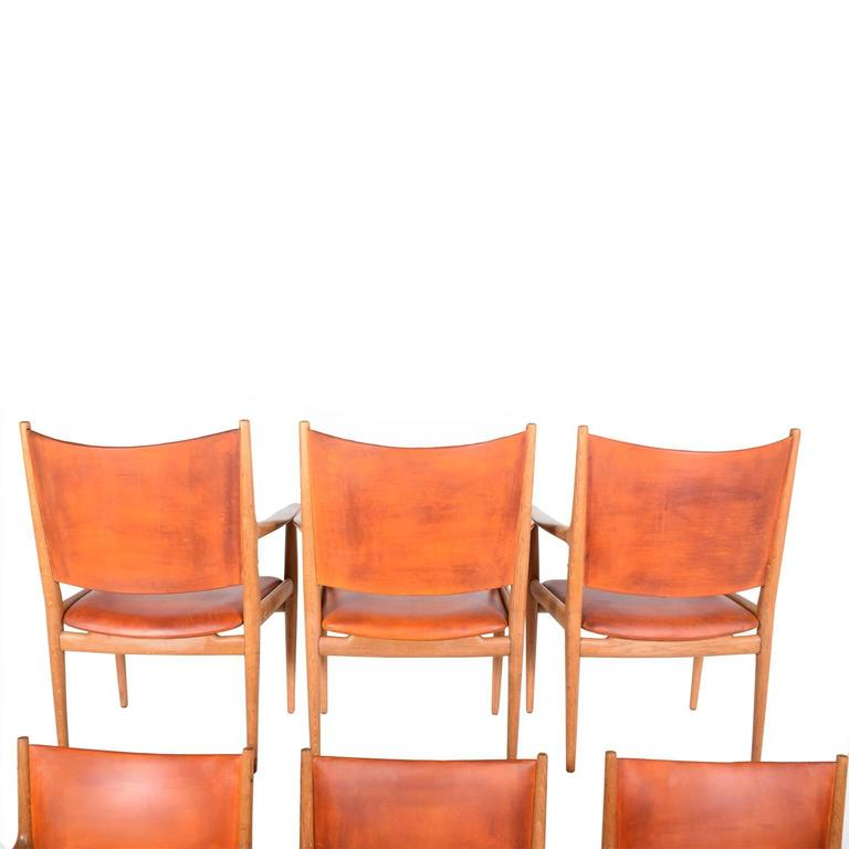 "Set of Six Hans Wegner ""513"" Armchairs for Johannes Hansen In Good Condition For Sale In Dallas, TX"