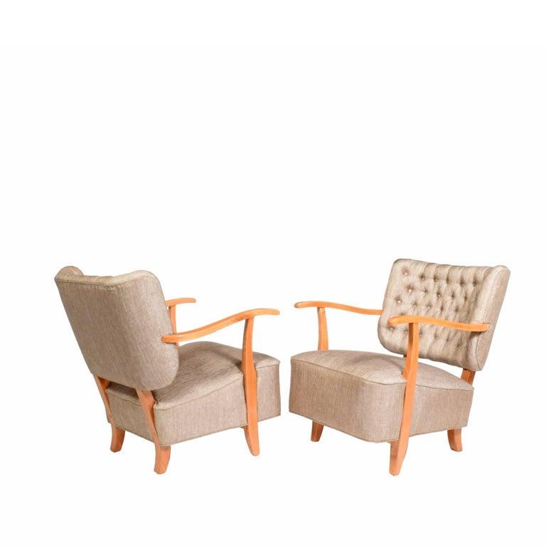 Scandinavian Modern 1940s Scandinavian Easy Chairs in the Manner of Fritz Hansen For Sale