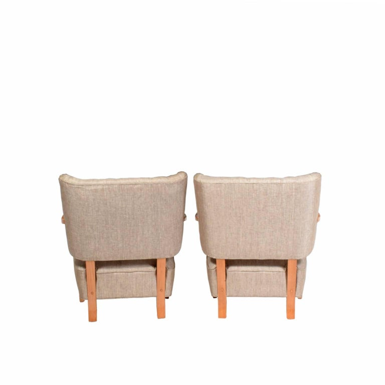 1940s Scandinavian Easy Chairs in the Manner of Fritz Hansen For Sale 1