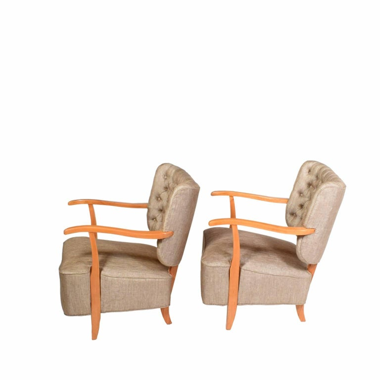 1940s scandinavian easy chairs in the manner of fritz hansen for