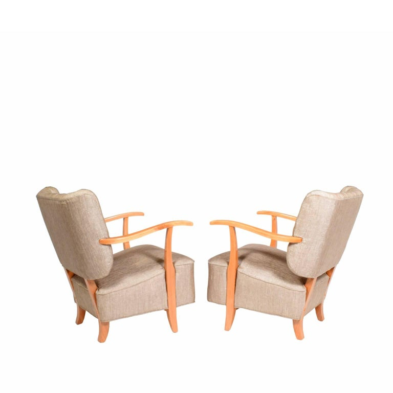 Mid-20th Century 1940s Scandinavian Easy Chairs in the Manner of Fritz Hansen For Sale