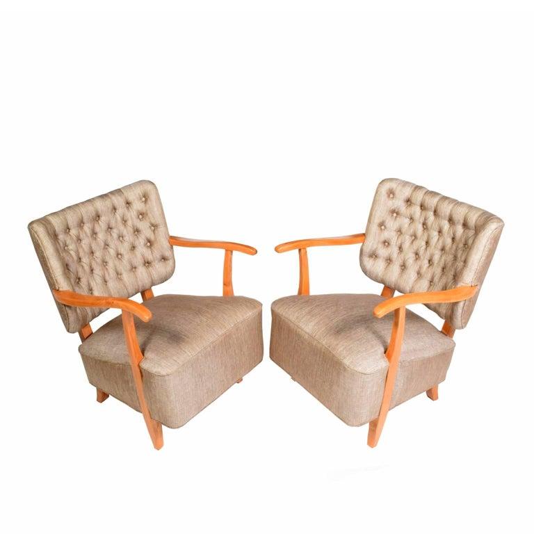 Danish 1940s Scandinavian Easy Chairs in the Manner of Fritz Hansen For Sale