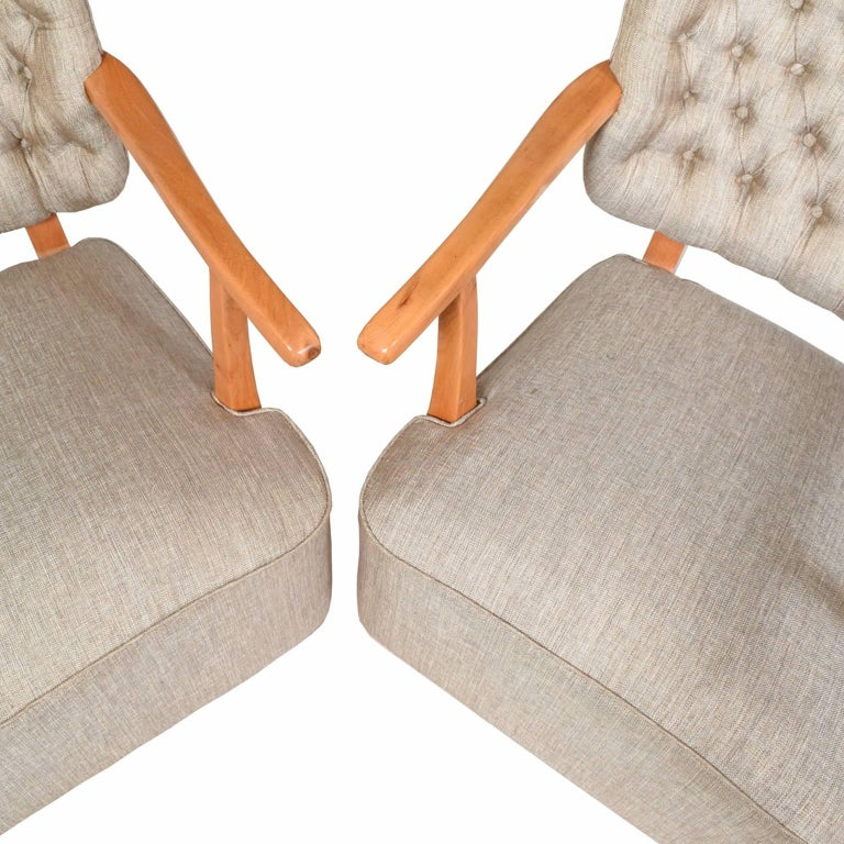 1940s Scandinavian Easy Chairs in the Manner of Fritz Hansen For Sale 3