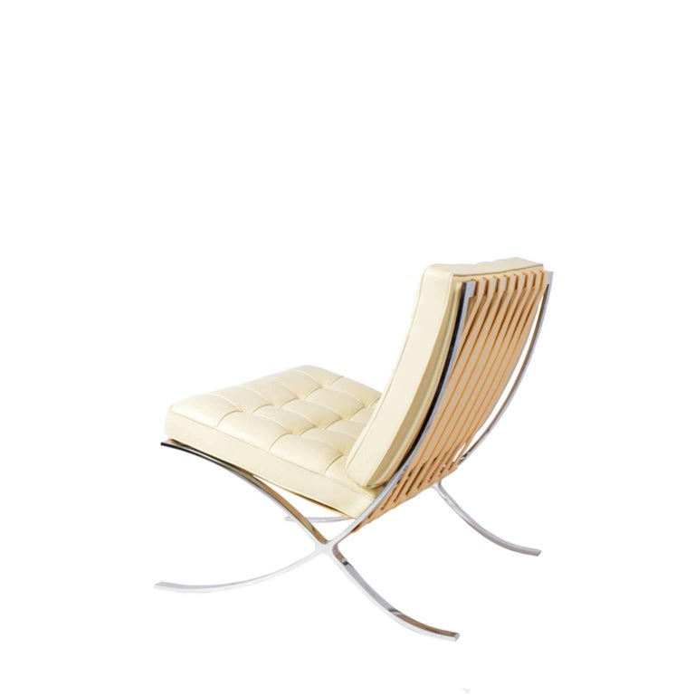 Classic Knoll Studio Barcelona chair featuring chrome-plated steel and volo leather upholstered cushions. Manufactured by Knoll Inc.