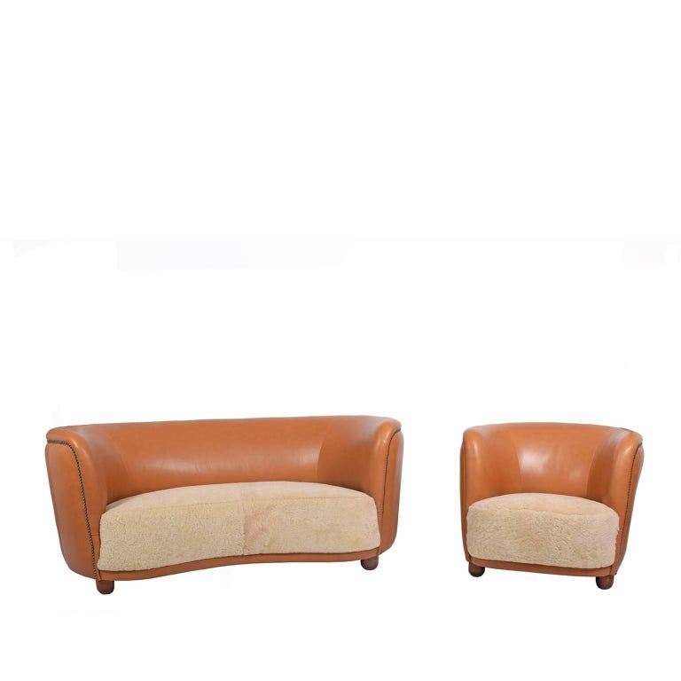 1940s Sofa and Chair by Flemming Lassen Attributed