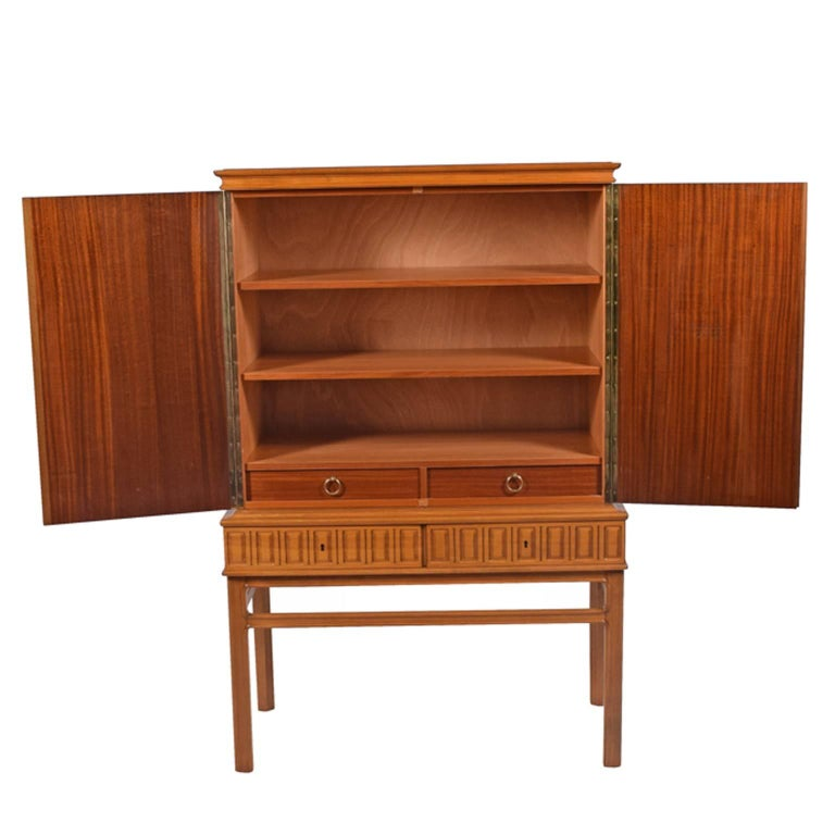 Scandinavian Modern Eugen Höglund Carved Cabinet 1950s in Vetlanda Sweden For Sale