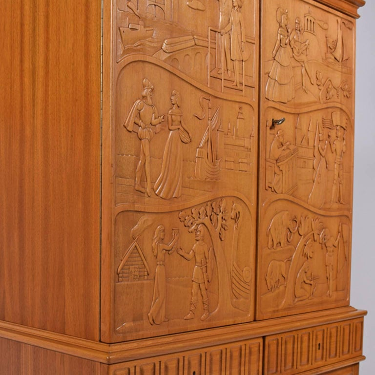 Eugen Höglund Carved Cabinet 1950s in Vetlanda Sweden In Good Condition For Sale In Dallas, TX