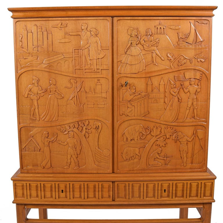 Swedish Eugen Höglund Carved Cabinet 1950s in Vetlanda Sweden For Sale
