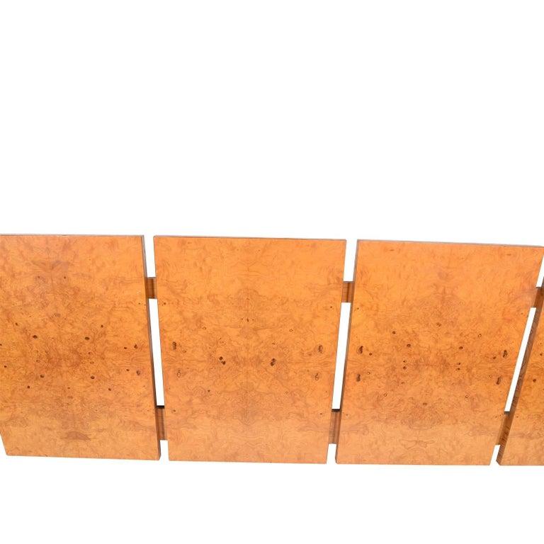 Five panel burl maple wood king-size headboard in original condition.