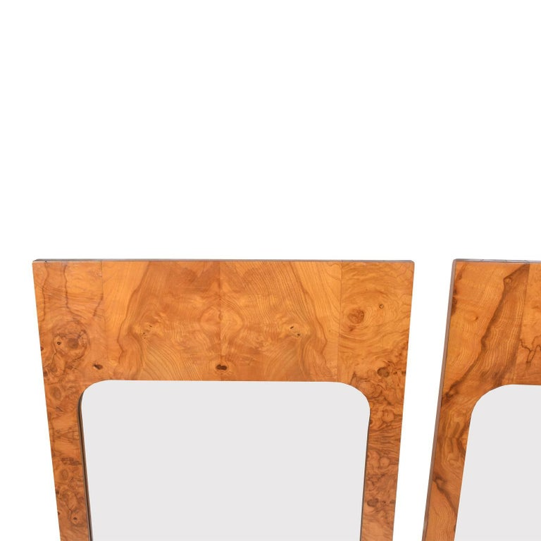 Modern Pair of Burl Wood Mirrors by Lane Furniture For Sale