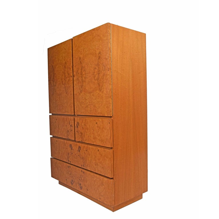 American Tall Cabinet with Burl Maple Front by Lane Furniture For Sale