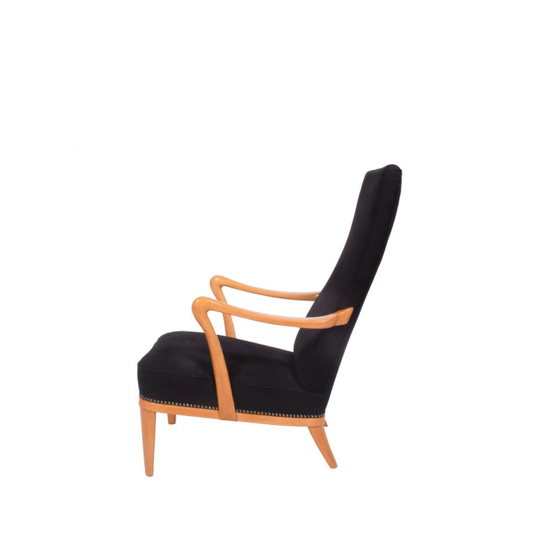 Linen Swedish 1940s Easy Chair Attributed to Carl Malmsten For Sale