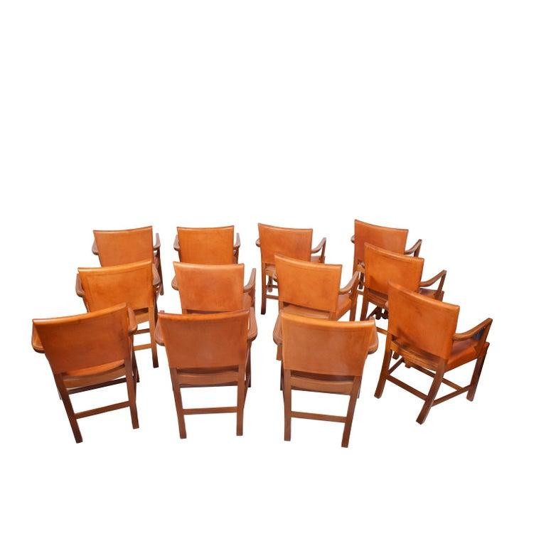 Scandinavian Modern Set of 12 Kaare Klint Red Armchairs for Rud Rasmussen For Sale