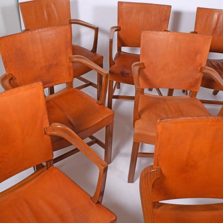Danish Set of 12 Kaare Klint Red Armchairs for Rud Rasmussen For Sale