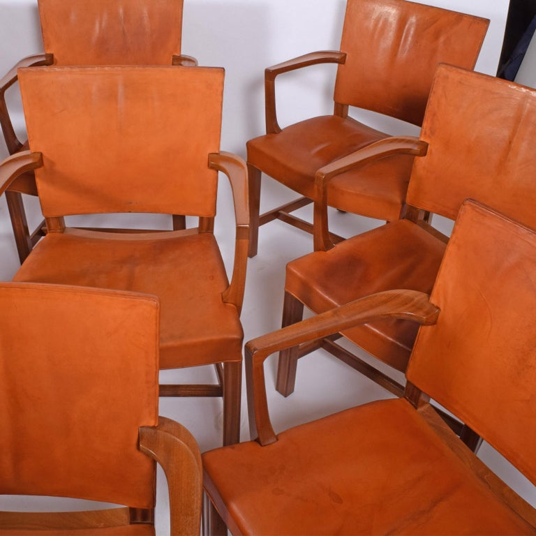 Set of 12 Kaare Klint Red Armchairs for Rud Rasmussen In Good Condition For Sale In Dallas, TX