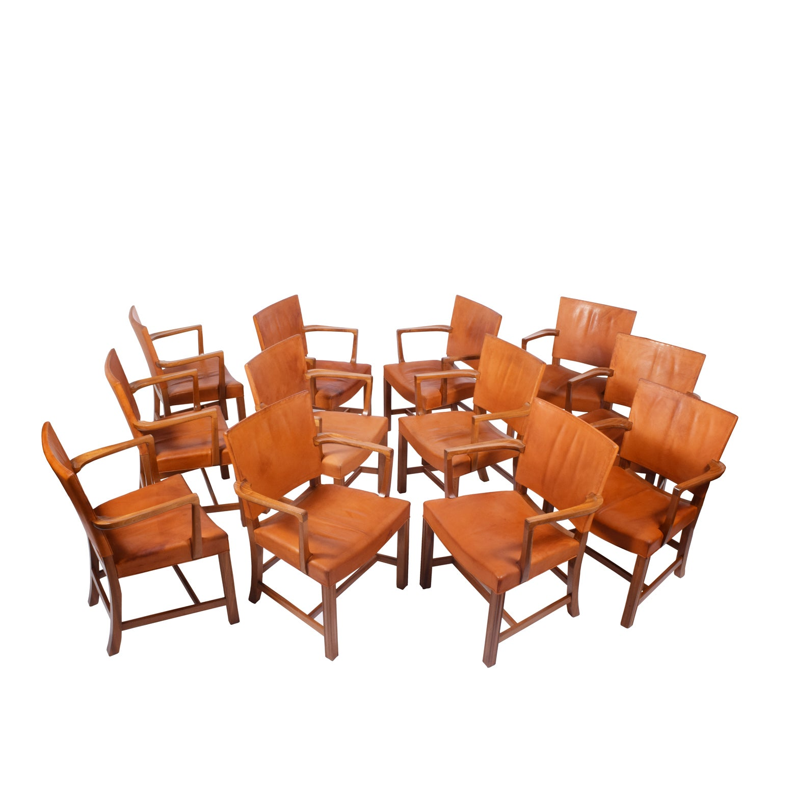 Set of 12 Kaare Klint Red Armchairs for Rud Rasmussen