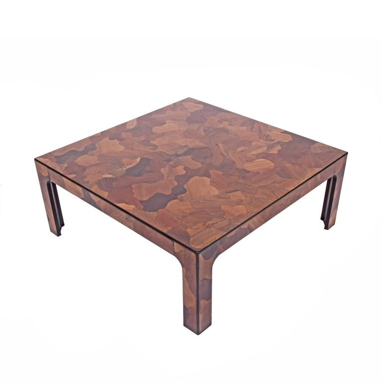 Very nice quality square coffee table  patchwork inlay of different wood sources.