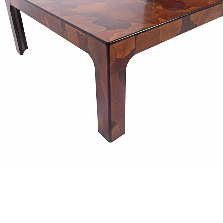 Modern 1970s American Burl Patchwork Coffee Table For Sale
