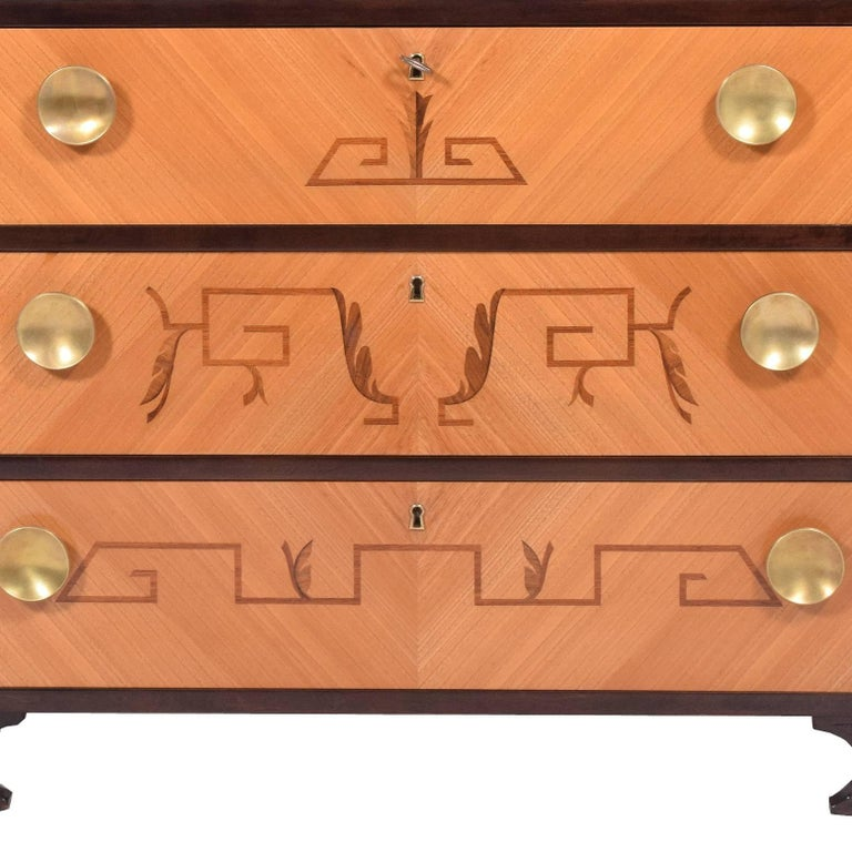 Birch 1940s Swedish Intarsia Chest of Drawers For Sale