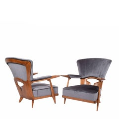 Rare Pair of Easy Chairs by Enrico Ciuti