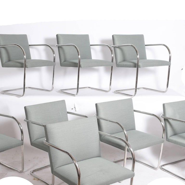 Bauhaus Set of Eight Stainless Steel Brno Chairs by Mies van der Rohe for Knoll Inc. For Sale