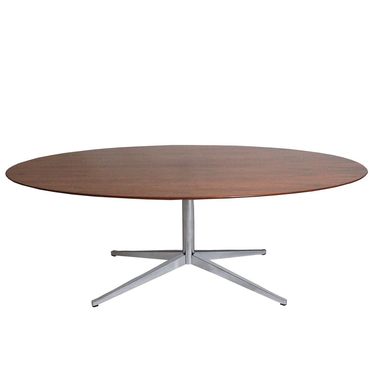 oval rosewood table or desk by florence knoll for sale at 1stdibs. Black Bedroom Furniture Sets. Home Design Ideas