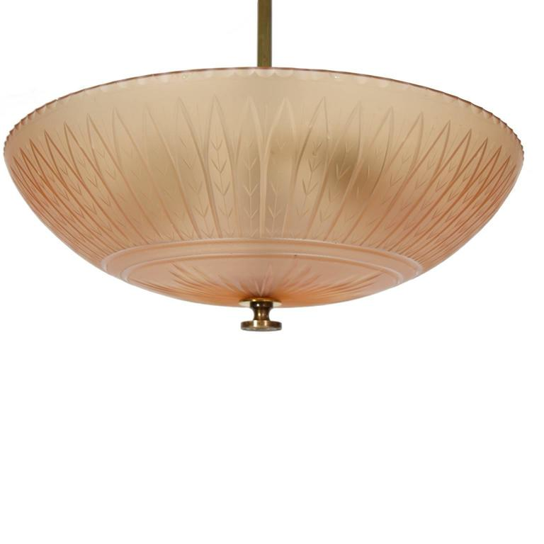 Orrefors Ceiling Lamp by Simon Gate, 1930s In Excellent Condition For Sale In Dallas, TX