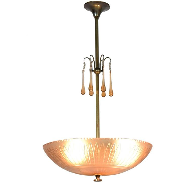 Scandinavian Modern Orrefors Ceiling Lamp by Simon Gate, 1930s For Sale