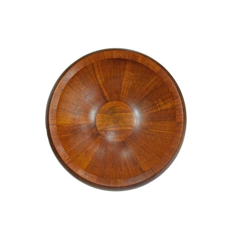 Early solid teak bowl made in butcher block technique. Designed by Jens H. Quistgaard for Dansk. Marked on bottom. Two available.